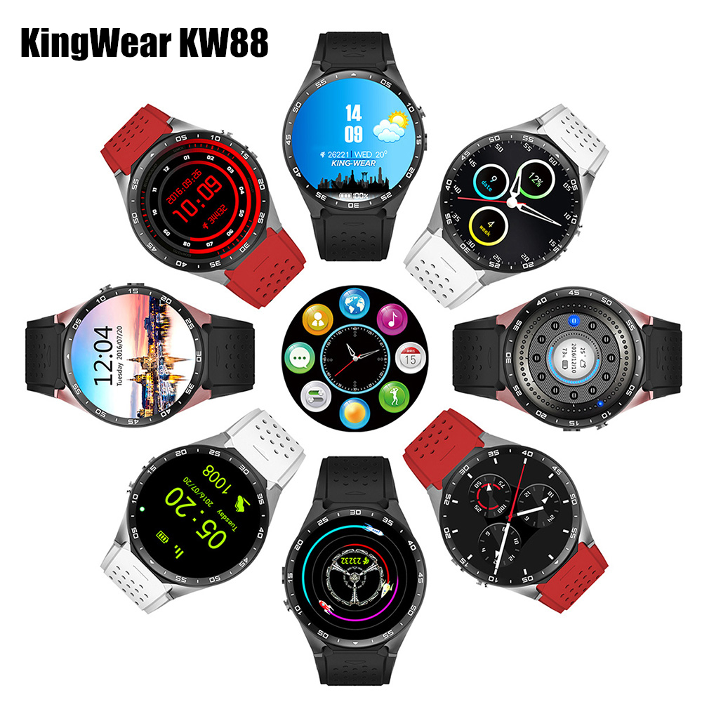 цены KingWear KW88 Android 5.1 Smartwatch 3G Bluetooth Wifi Smart Watch Phone MTK6580 Quad Core 512MB RAM 4GB ROM GPS Gravity Sensor