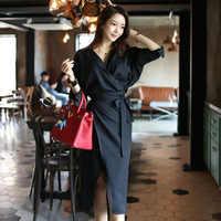 2018 秋カジュアル非対称ドレスレディースサッシ黒長袖 V ネックドレス包帯セクシーなパーティーヴィンテージドレス Vestidos