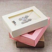Atacado pingente com brinco/set anel display & embalagem caixa de janela, rosa/bege/kraft/preto/conjunto de jóias branco embalagem da caixa 30 pcs