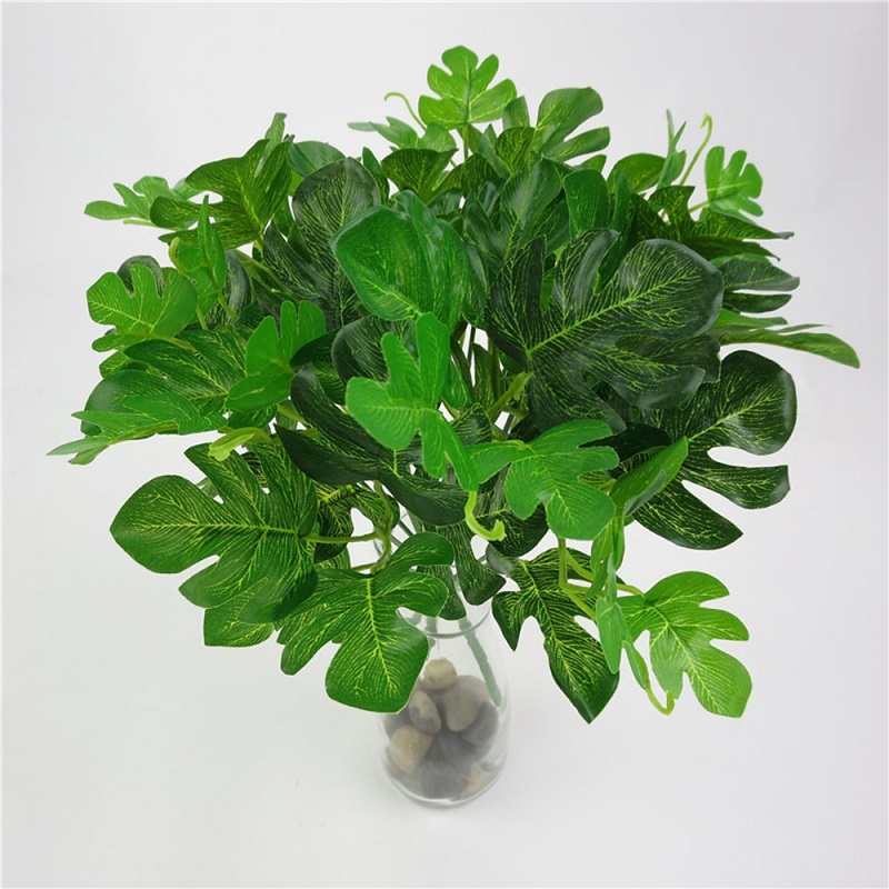 5 Head Simulation Monstera Leaf Green Artificial Large Plant Ornament Foliage Decor Palm Emulational Leaves Festival Prop