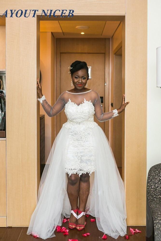 Transparente Long Sleeves African Short Wedding Dress With Detachable Train Lace Applique Beach Boho Bridal Gowns Plus Size