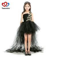 Sequined Black Bow Girls Tutu Dress Train Tail Tulle Wedding Dresses Kids Halloween Birthday Evening Party Gowns Meisjes Jurk