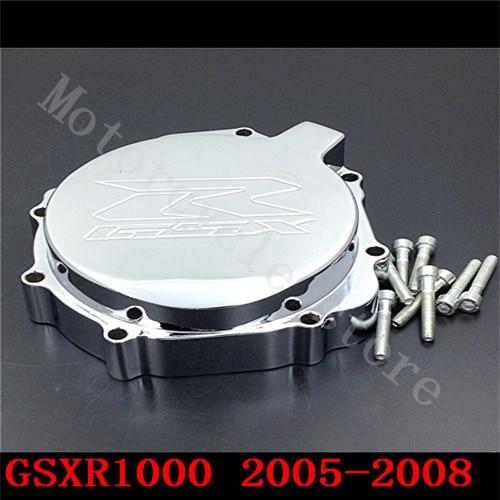 Fit for Suzuki GSXR1000 GSXR 1000 2005-2008 Motorcycle Engine Stator cover Chrome left side K5 K7  fit for suzuki gsxr1000 gsxr 1000 2005 2008 motorcycle engine stator cover see through black left side k5 k7