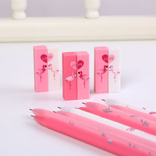 2 Pcs/pair Pink Flamingos Gel Pen Kawaii Girls Pair 0.5mm Black Ink for Stationery Gifts Cute Writing Office School