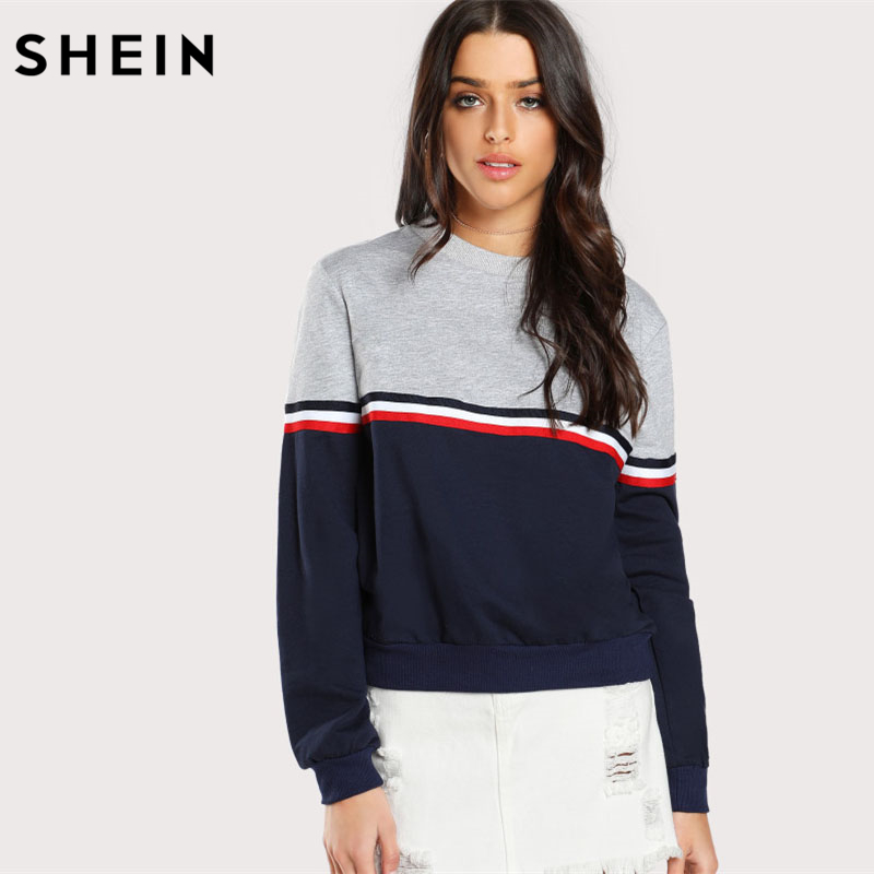 SHEIN Striped Woven Band Detail Zwei Ton Sweatshirt Frauen Casual Pullover Farbe Block Langarm Sweatshirts