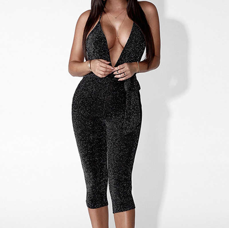 493eb272bdf Sexy Women Glitter Jumpsuit Long Sleeve Deep V-Neck Halter Backless Skinny  Nightclub Party Bodycon Sparkly Romper Catsuit Sashes