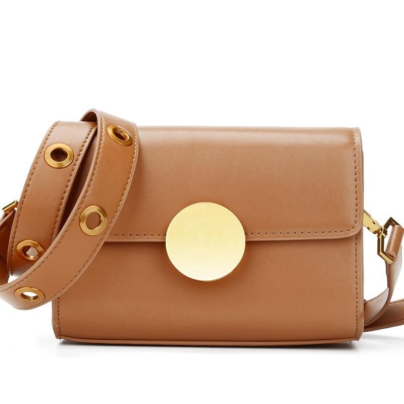 2017 New Women Circular Lock Designer Flap Messenger Crossbody Genuine Leather Bags Hollow Shoulder Strap Handbag Brown Bag