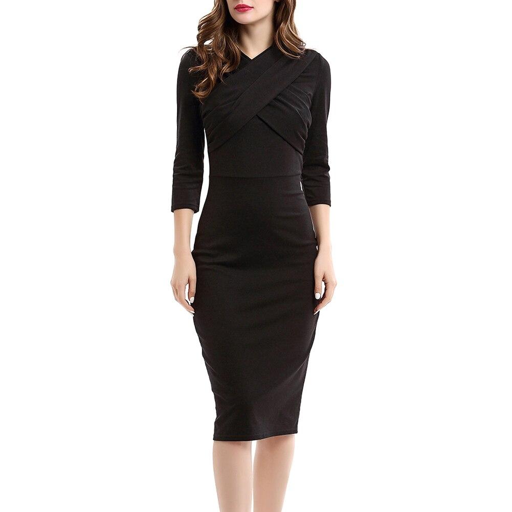 Women 3/4 Sleeve Slim Fit Dress Cross V-neck Bodycon Office OL Business Party Pencil Dresses H9