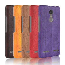 For Lenovo K6 Case Hard PC+PU Leather Retro wood grain Phone Cover Luxury Wood for 5.0