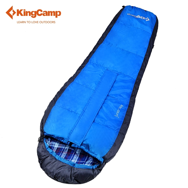 KingCamp Spring Autumn Sleeping Bag With Hood For Camping Outdoor Flannel Lined