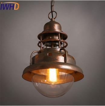 IWHD hierro Hanglampen lámparas colgantes clásicas Loft Industrial lámpara colgante retro dormitorio...