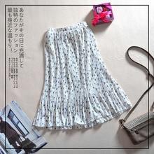 2019 Women's Summer New Mid-waist Pleated Print Chiffon Skirt Floral Skirt A-Line Casual Chiffon Natural  Mid-Calf цена