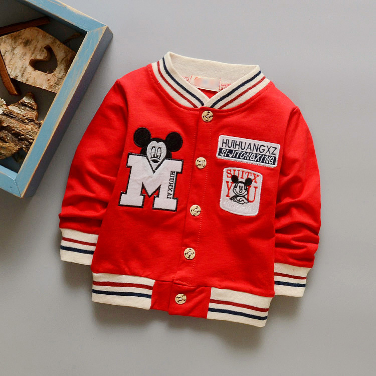 2016 Baby Boys Hoodies Kids Minnie Jackets Sweatshirt Sport Coat Boys Moleton Letter Print Spring Autumn Leisure Outerwear 2-5T
