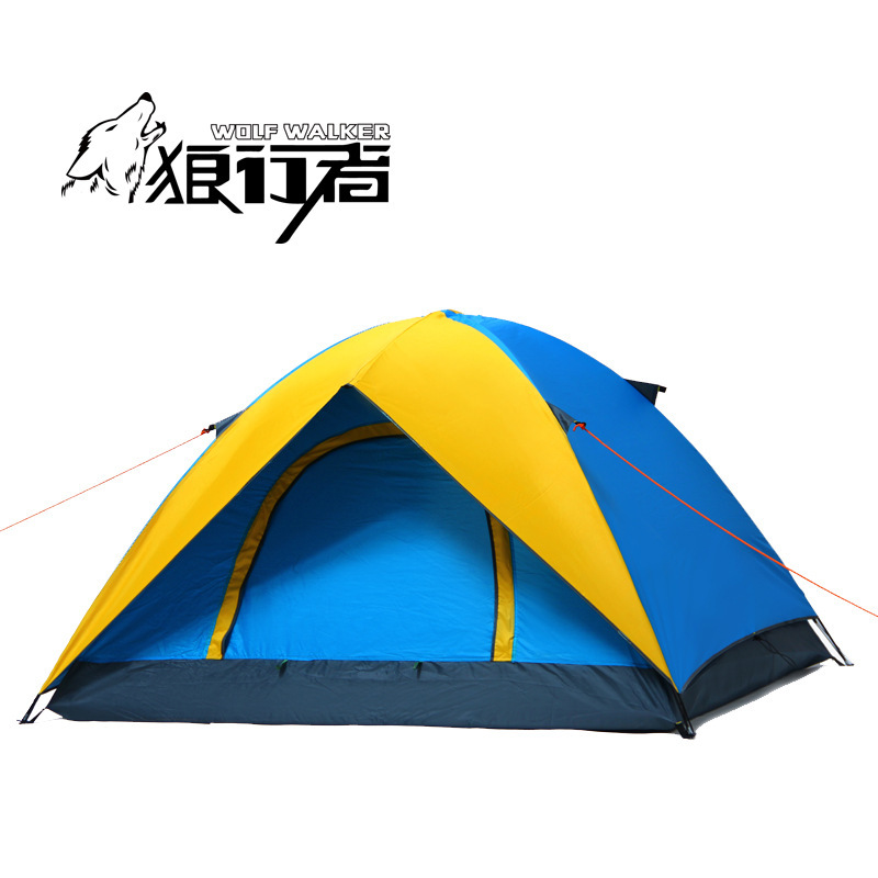 Double Layer 3-4 Person Outdoor Camping canvas Tent trekking Hiking Fishing Hunting tente awning pergola portable high quality outdoor 2 person camping tent double layer aluminum rod ultralight tent with snow skirt oneroad windsnow 2 plus