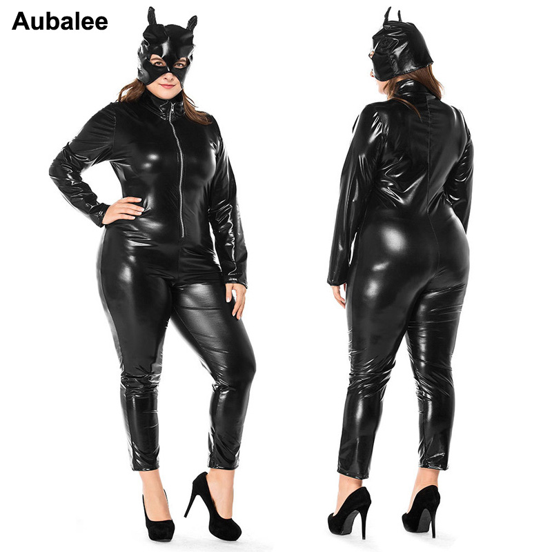 Plus Size XXXL Sexy Black Catwomen Jumpsuit Faux Leather Catsuit Costumes For Women Ladies Halloween Catwomen Costume Bodysuit
