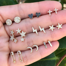 9 pairs Vintage Mix Design Moon Star Crystal Piercing Earrings for Women Gold Color Small Heart Cross Ear Studs Cuff Earring Set