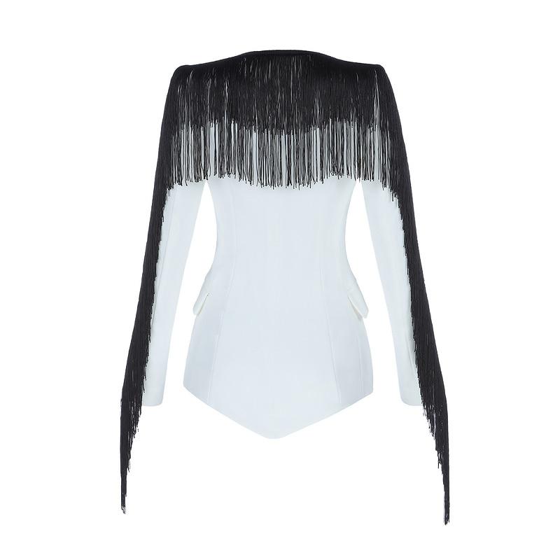 Quaste Weiß Jacke Single V Frauen White Mode Büro Sexy Langarm ausschnitt Tasche Schwarz Anzug Gosexy Dame Blazer 2019 Button Neue 0wN8vnm