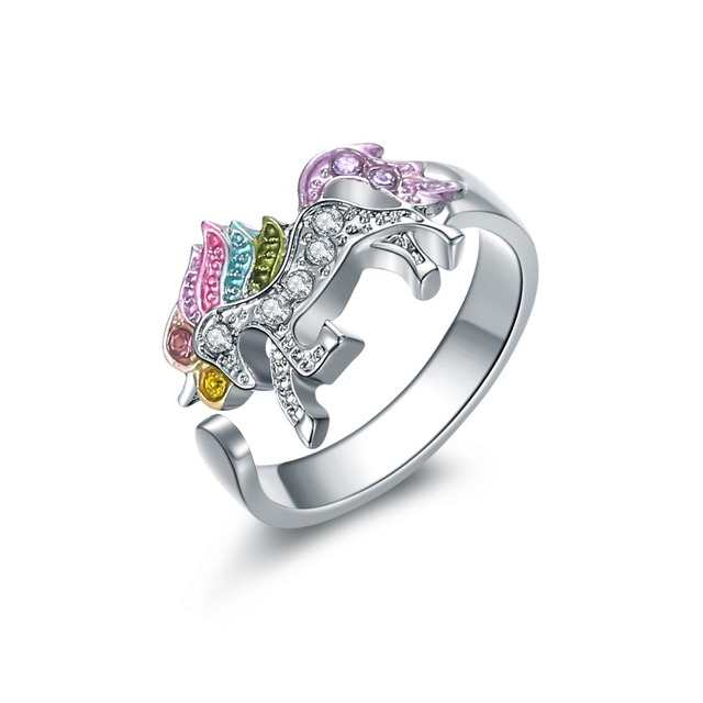 Fashion Cute Cartoon Unicorn Ring for Women Adjustable Alloy Crystal Finger Ring Jewelry Gift For Girl Wholesale D3