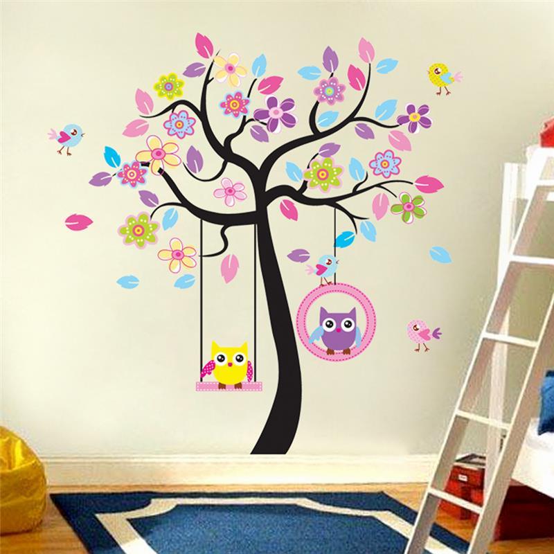 Kawaii Pegatinas Para Muro De Búhos Decoraciones De Dormitorio Infantil Dibujos Animados Niños Niñas Calcomanías Para El Hogar 78ab Animales árbol