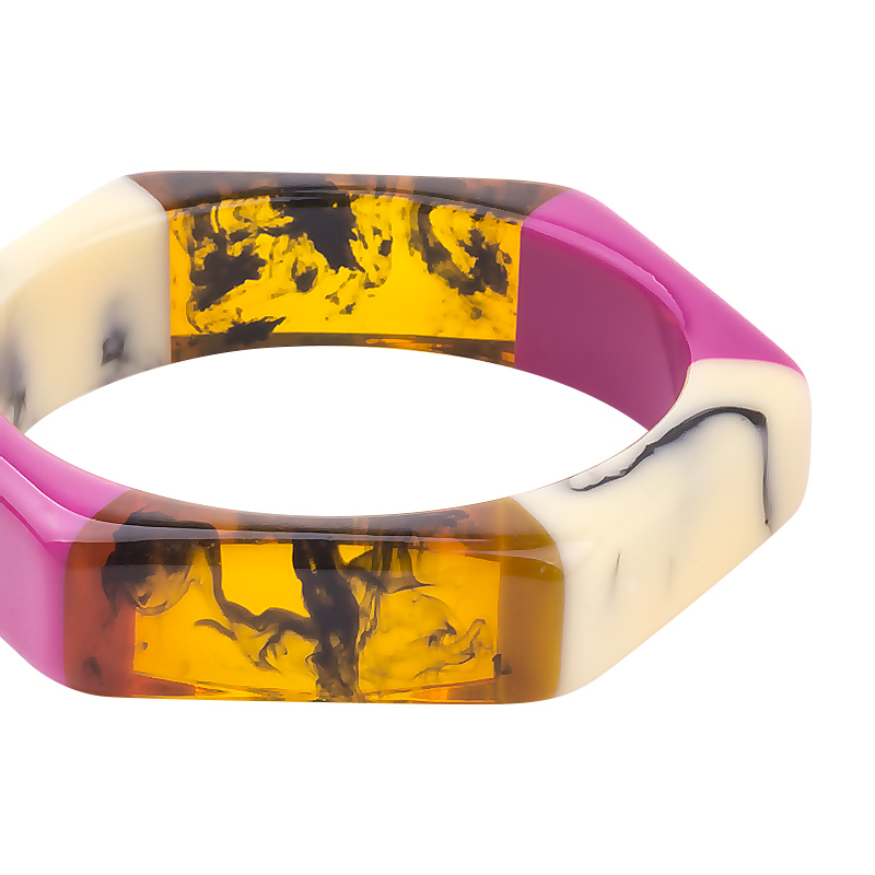faf9498dc58 ... Trendy Acrylic Fashion Cuff Bracelets Bangles for Women Mix Colors  Hexagon Geometric Resin Simple Bracelet Charm ...
