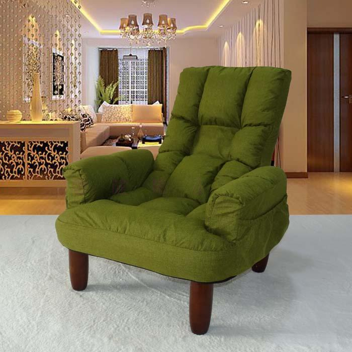 Japanese Style Upholstery Furniture Leg Wood Finish Linen Fabric Sofa Armchair Design Living Room Modern Relax