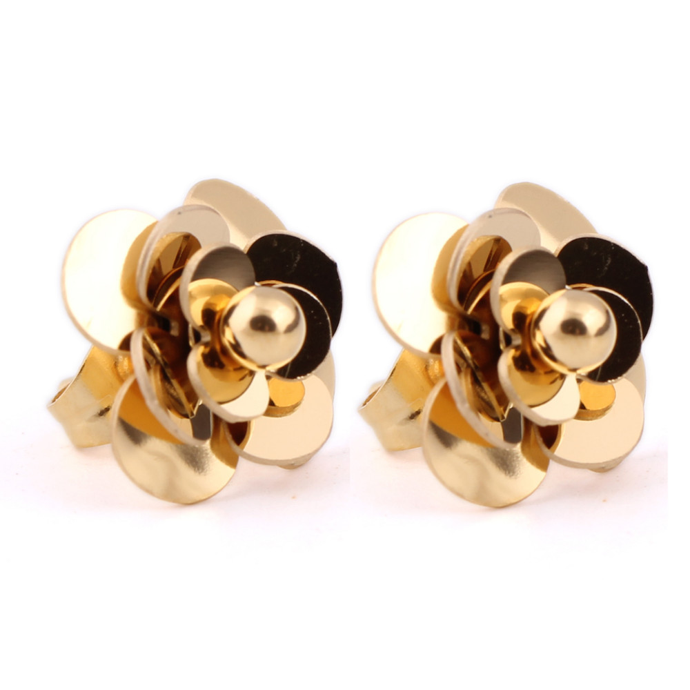 Fashion Women Earrings 316LStainless Steel Rose Gold Flower Stud Earrings 6