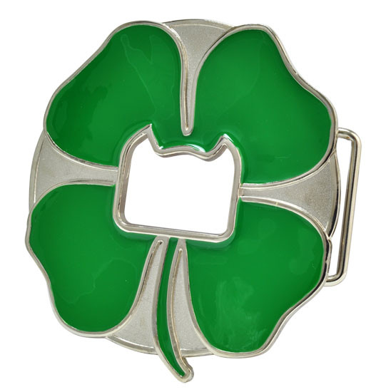 Green Enamel Shamrock Lucky 4 Leaf Clover Belt Buckle Western Cowboy