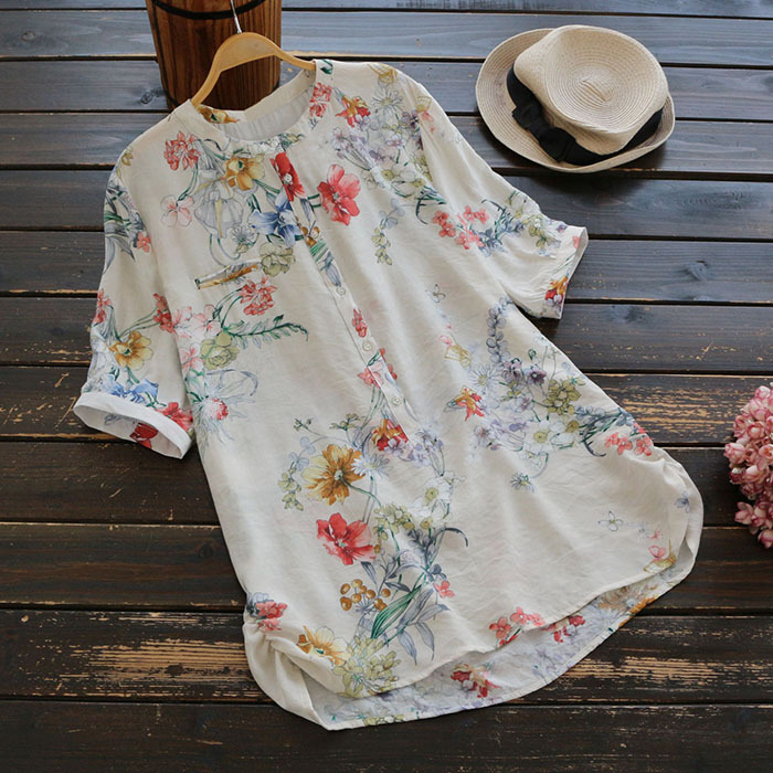 Sweet Casual Floral Printed Women Shirt Blouse Short Sleeve Button Up Summer Tops Side Ruched Loose Spring Shirts Ladies Blusas