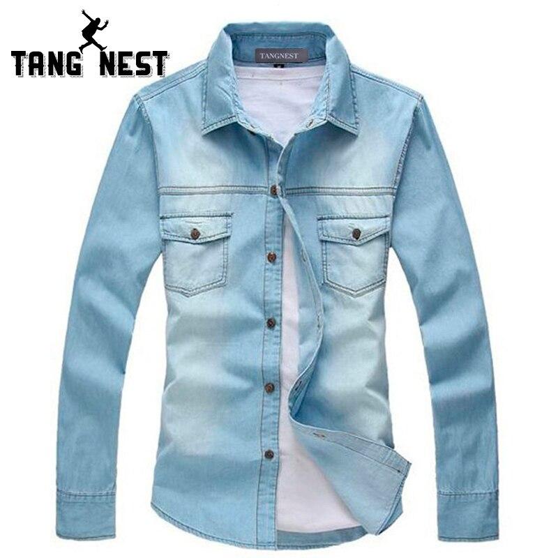 百思买 ) }}TANGNEST 2018 New Vintage Men Fashion Breathable Denim Shirt Long Sleeve Light