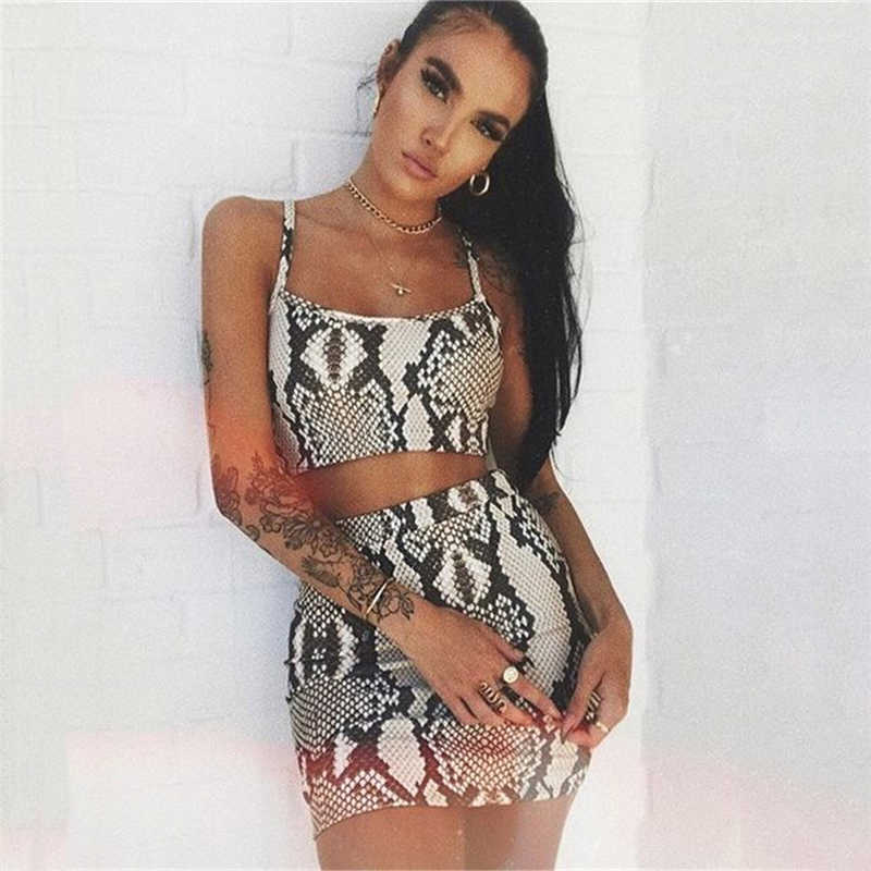 Mode Dames Snake Print Tweedelige Set Streetwear Vrouwen Zomer Mouwloze Bandage Crop Top Rok set Party Club 2 stuk set