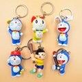 6pcs/set Assorted Doraemon Baseball  Nobita Nobi Anime Action Figures with Key Rings Children Gift