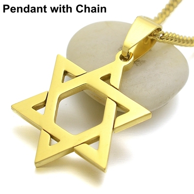 18KGP Gold Tone Stainless Steel Jewish Star Of David Charm Pendant Necklace 24 inch Curb Chain