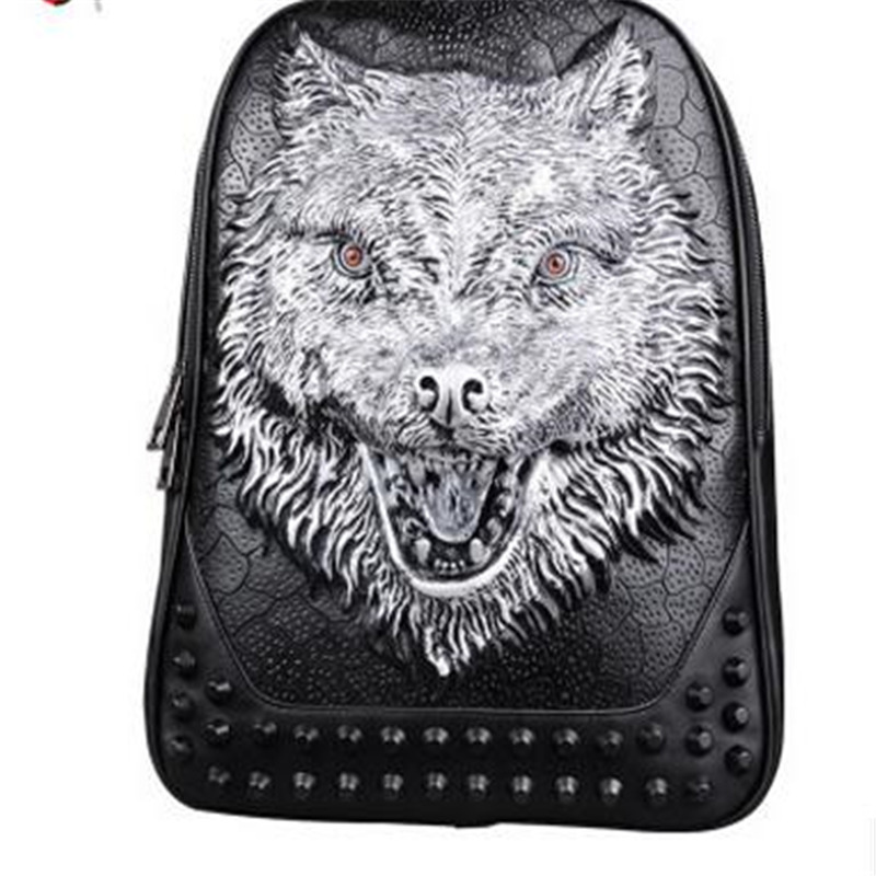 2017 New 3D Embossed Personality Wolf Men Backpack Punk Rivet Animal Printing Large Capacity Waterproof Men Laptop Bags Backpack new lone wolf and cub v 7