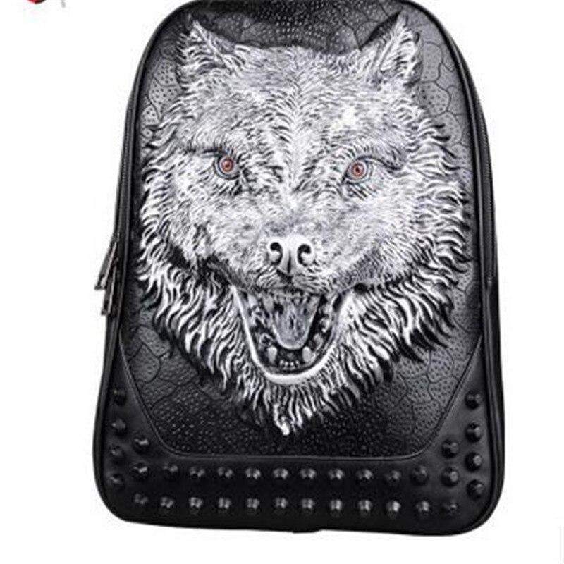 2017 New 3D Embossed Personality Wolf Men Backpack Punk Rivet Animal Printing Large Capacity Waterproof Men Laptop Bags Backpack new lone wolf and cub vol 5