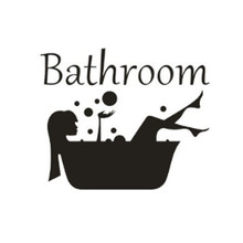 Cuarto de baño etiqueta de la pared de carta arte extraíbles vinilo Mural para habitación de la casa Puerta de baño etiqueta de vinilo de transferencia Vintage decoración arte