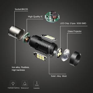Image 2 - 2pcs P21W LED 1156 BA15S LED Bulbs Car Lights 1200Lm Turn Signal Reverse Brake Light R5W 3030 LEDs 12V 24V Automobiles Lamp D040