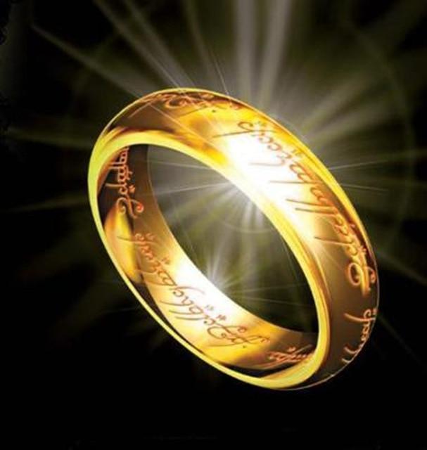 Nova Moda Letras Presente Masculino Midi Anel Hobbit Tungstênio Um Anel do Poder da Cor do Ouro Anel de Mulheres e Homens Livres navio da gota