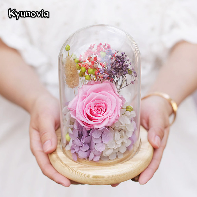 Kyunovia Sweet Preserved Flower Gift Valentines Day Birthday Gifts Natural Dried Flowers Rose Present With Glass
