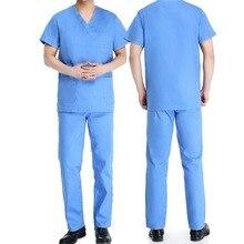 [SET] Men's Short Sleeve V Neck COTTON Super Comfy Medical Scrubs set/ Nursing Uniform