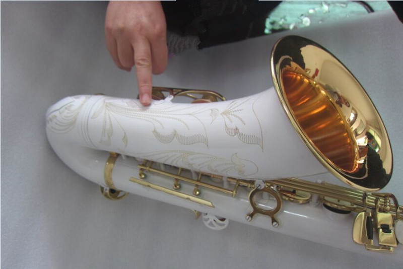 2019 New arrival STS 802 Tenor Saxophone Unique White Lacquer Gold Exquisite Carving Pearl Button With