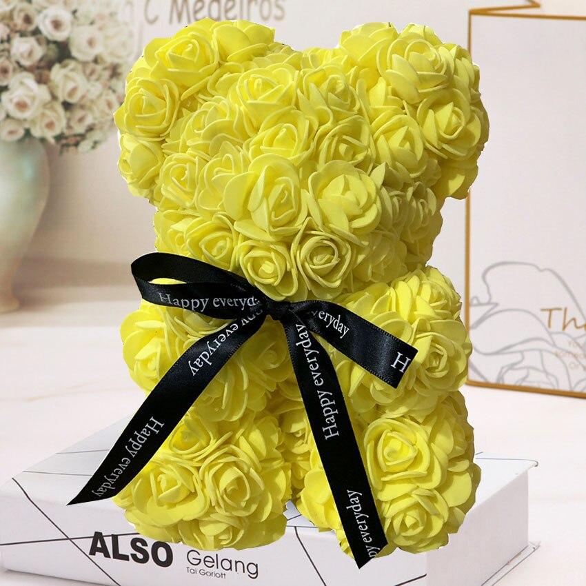 Горячая Распродажа, подарок на день Святого Валентина, 25 см, красная роза, плюшевый мишка, цветок розы, искусственное украшение, рождественские подарки для женщин, подарок на день Святого Валентина - Цвет: Yellow 25cm No Box