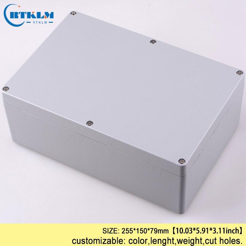 цена на Aluminum enclosure housing pcb case IP68 waterproof junction box diy power amplifier diy instrument project box 255*150*79mm