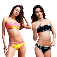 952f2672f6 lyric Solid Bandeau Bikini Set Push Up Swimsuit Tanga Bottom Strappy Swimwear  2018 Bather Women s Swimming Suit Hot Beachwear