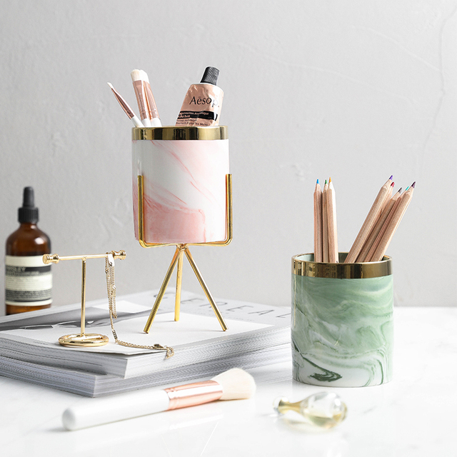 Nordic Style Creative Ceramic Pen Container Gold Plating Storage Box with  Metal Holder Kitchen Utensils Desk Organizer
