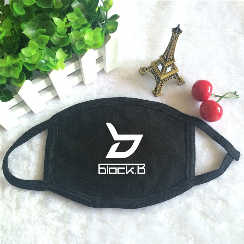 Kpop BLOCK B BLOCK.B Album Logo Print K-pop Fashion Face Masks Unisex Cotton Black Mouth Mask