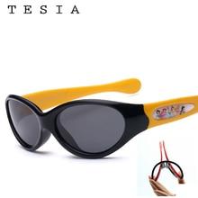 TESIA Lovely Cartoon Children Sunglasses Girls UV400 Protection Polarized Silicone Sun Glasses Kids S834