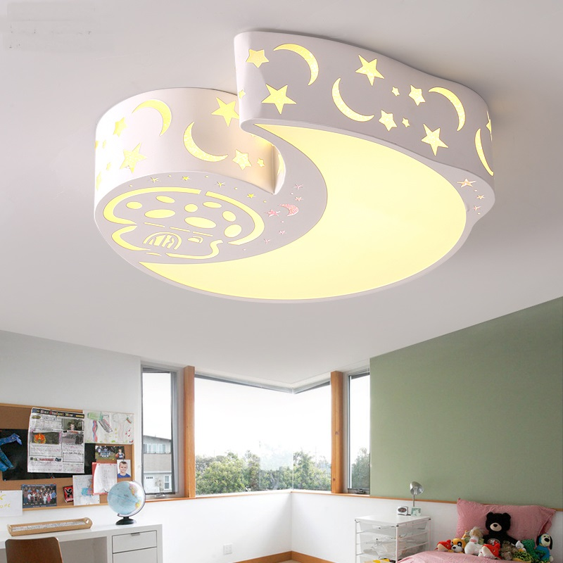 Childrens room led lamps ceiling lamp bedroom lights warm childrens room led lamps ceiling lamp bedroom lights warm romantic stars moon modern male and female ceiling light za81517 in ceiling lights from lights mozeypictures Gallery