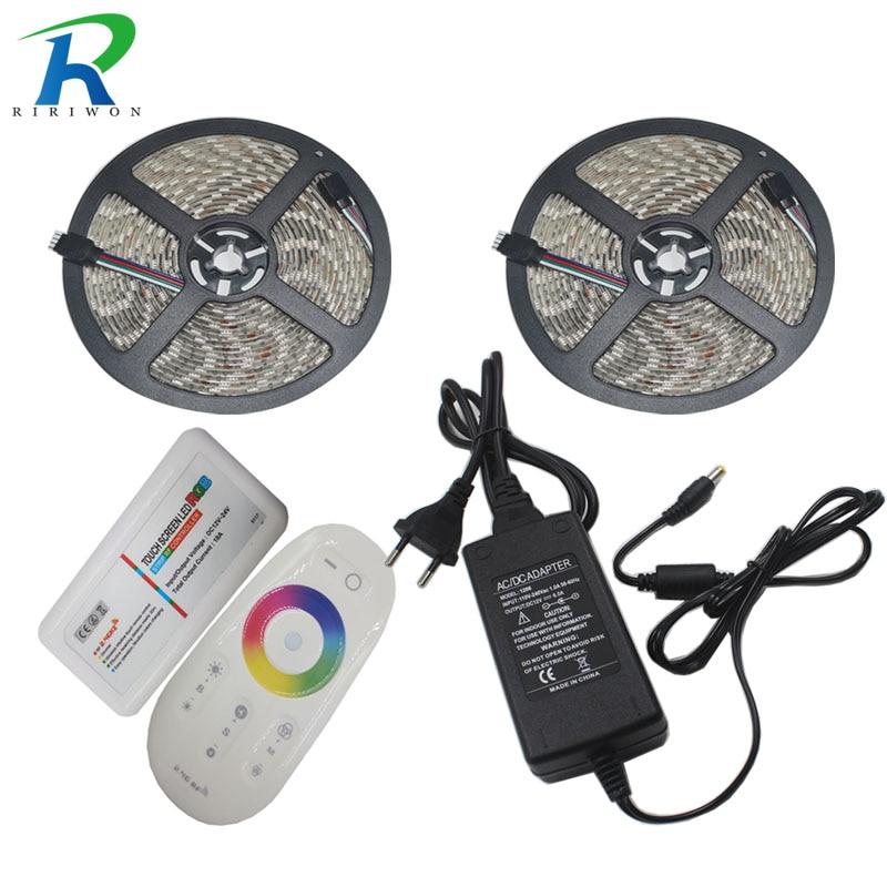RiRi won LEDs strip 5050 RGB LED strip light smd no waterproof 60leds led tape ribbon 20M 10M 5m set controller DC 12V adapter