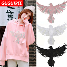 GUGUTREE embroidery big eagle patches bird badges applique for clothing XC-66