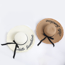 2019Summer Hat Women Wide Brim Sun Straw cap Protection Beach Ladies hat Handmade Weave Foldable Hats for outdoor